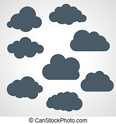 vector illustration of black clouds collection
