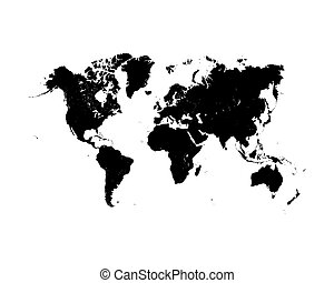 world map - Vector illustration of black detailed world map