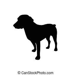 vector illustration of black dog silhouette. Vector dog silhouette
