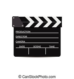 vector illustration of black film clapper isolated on white