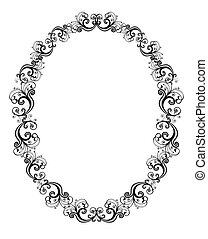 Vector illustration of black floral frame over white...