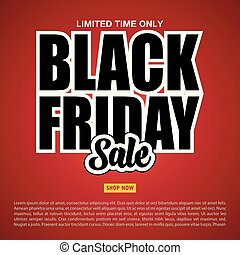 Black Friday sale banner on the red background