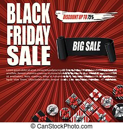Black Friday sale banner with gift boxes and black ribbon on red background