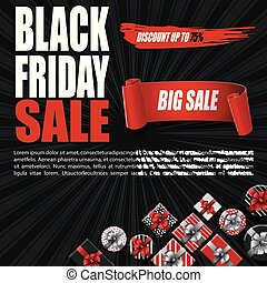 Black Friday sale banner with gift boxes and red ribbon on black background