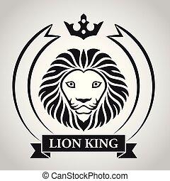 Black king lion head mascot on white background