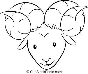 Black Line Art of Aries Zodiac Sign