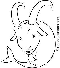 Black Line Art of Capricorn Zodiac Sign