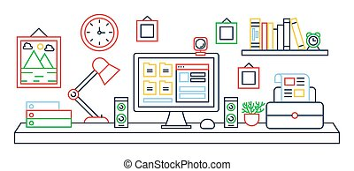 Vector illustration of black line single colored office table with computer. Color outline style.