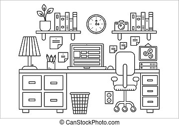 Vector illustration of black line single colored office table with computer. Outline style.