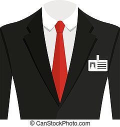 Vector illustration of  black man suit with red tie and white shirt