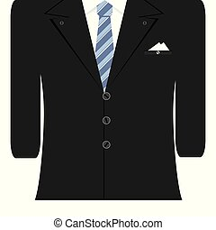 Vector illustration of black man suit with white shirt
