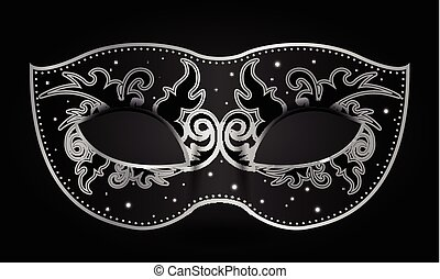 black mask - Vector illustration of black mask with silver...