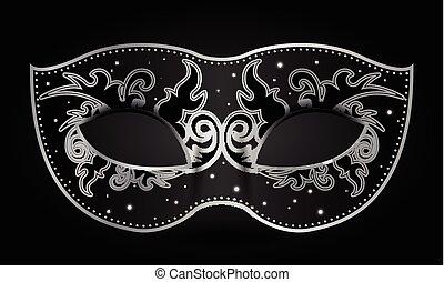 black mask - Vector illustration of black mask with silver...