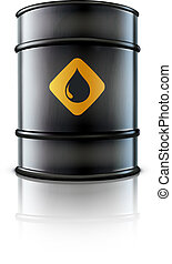 oil barrel - Vector illustration of black metal oil barrel...