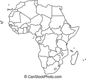 Vector illustration of black outline Africa map. Vector map.