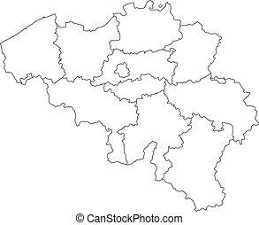 Vector illustration of black outline Belgium map.