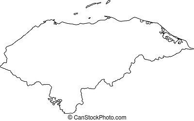 Vector illustration of black outline Honduras map.