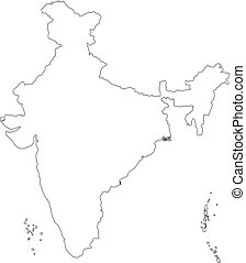 Vector illustration of black outline India map.