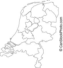 Vector illustration of black outline Netherlands map.