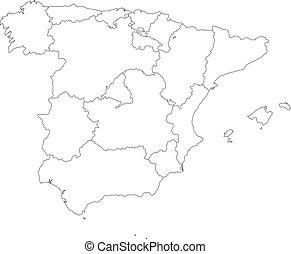 Vector illustration of black outline Spain map.