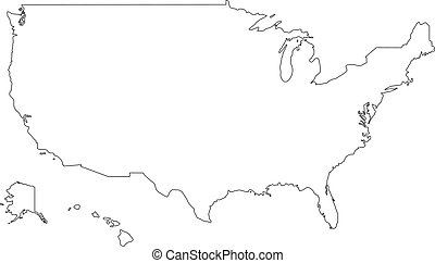 Vector illustration of black outline United States of America map.