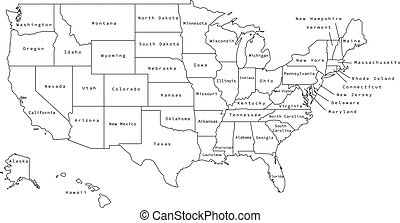 Vector illustration of black outline United States of America map with states.