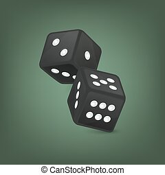 Vector illustration of black realistic game dice icon in flight closeup on green background. Casino gambling design template for app, web, infographics, advertising, mock up etc