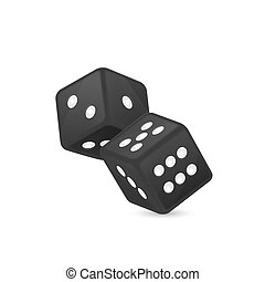 Vector illustration of black realistic game dice icon in flight closeup isolated on white background. Casino gambling design template for app, web, infographics, advertising, mock up etc