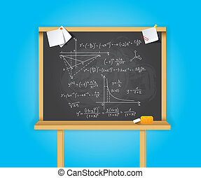 Black school boards on blue background - Vector illustration...