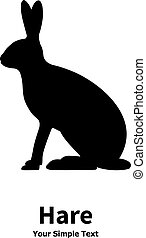 Vector illustration of black silhouette of hare