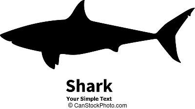 Vector illustration of black silhouette of shark