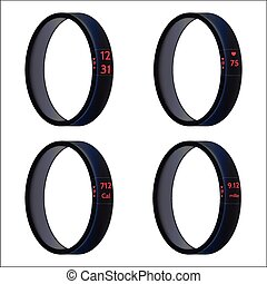 Vector illustration of black smart wristbands