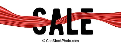 Vector illustration of black text sign SALE with red silk ribbon