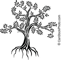 vector illustration of black tree silhouette isolated on white background