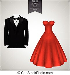 Black tuxedo and red bridal gown - Vector illustration of...