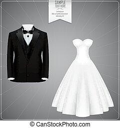Black tuxedo and white bridal gown