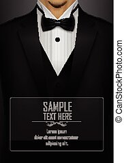 Black tuxedo with black bow tie