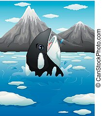 Black whale emergent from blue water - Vector illustration...
