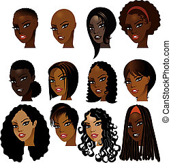 Vector Illustration of Black Women Faces. Great for avatars, makeup, skin tones or hair styles of African women.
