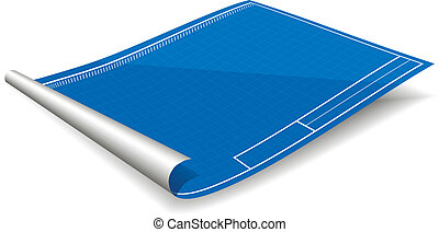 Blank blueprint paper vector eps10 illustration vector illustration of blank blueprint with shadow paper blueprint vector isolated malvernweather Images
