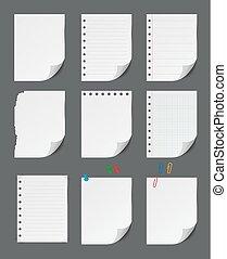 Blank paper sheet with push pin set