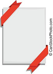 Blank Paper with red Ribbon