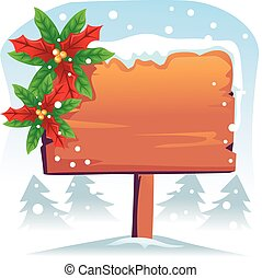 Blank Wooden Signage with Poinsettia on Snowy Background