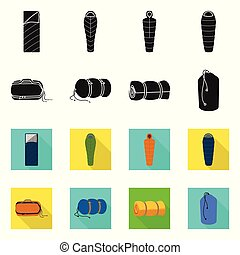 Vector illustration of blanket and camping symbol. Set of blanket and equipment vector icon for stock.