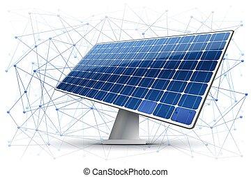 Blockchain in Green Energy Industry - Vector Illustration of...