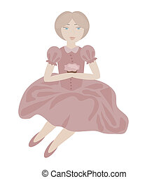 londe girl in vintage pink dress