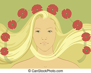 blondy girl with fly-away hair - vector illustration of...