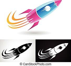 Blue and Magenta Rocket Icon