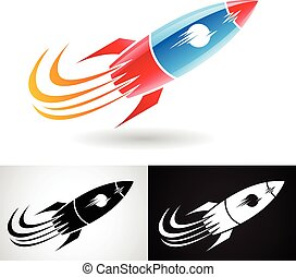 Blue and Red Rocket Icon