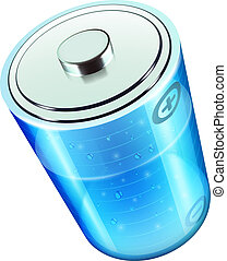 battery icon - Vector illustration of blue battery icon for...